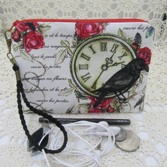 Women's Wristlet/Cosmetic/Jewelery Pouch - Steampunk Black Crow