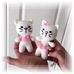 Pink Ballerina Cats Couple (a pair [2] amigurumi models)