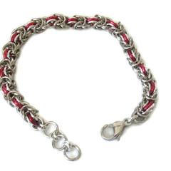 Stainless Steel Chain Maille Bracelet Half Byzantine Weave