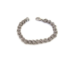 Rose Quartz Caged Stainless Steel Chain Maille