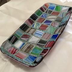 Mosaic style fused glass dish