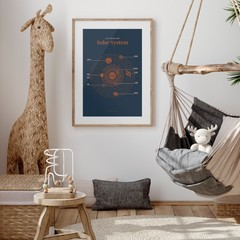 A3 Solar System Print (Dark) - Educational Poster