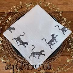 "Block printed 4PK washed cotton napkins | ""Naughty Kitty""!"