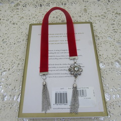 Bookmark Luxury Velvet - Red with Diamante Charm and Tassel