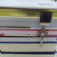 Bookmark Luxury Velvet - Charcoal with Diamante Charm and Tassel