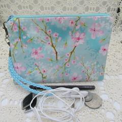 Women's Wristlet/Cosmetic/Jewelery Pouch - Cherry Blossom