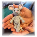 Grey Mouse with Black Buttons,  amigurumi model