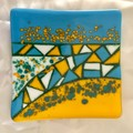 Turquoise and yellow fused glass dish