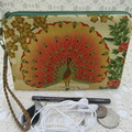 Women's Wristlet/Cosmetic/Jewelery Pouch - Peacock Design