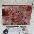 Women's Small Clutch/Cosmetic/Jewelery Pouch - Japanese Floral
