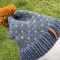 Knitted grey slouchy beanie, blue pompom beanie hat, mustard ladies beanie, stor