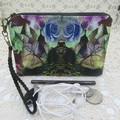 Women's Wristlet/Cosmetic/Jewelery Pouch - Rose Leopard Design