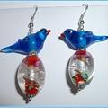 Blue bird earrings. FREE SHIPPING