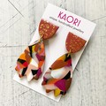 Polymer clay earrings, statement earrings, in berry pink and chocolate brown