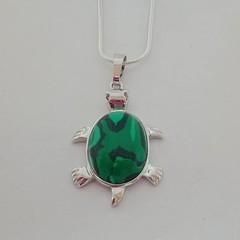 Silver natural stone / malachite pendant necklace