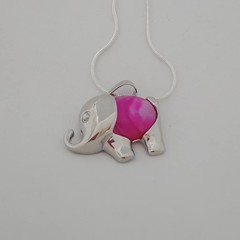 Silver elephant natural stone rose agate pendant necklace