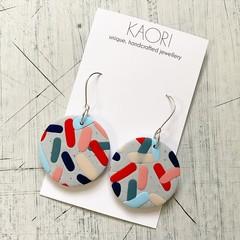 Polymer clay earrings, statement earrings in jellybean granite