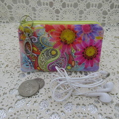 Coin Purse - Women's/Girls for Coins, Cards,Jewellery etc - Bright Floral