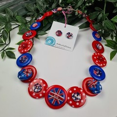 Australia Day Thongs - Red White and Blue - Button Necklace - Button Earrings