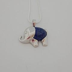 Silver elephant natural stone lapis lazuli pendant necklace