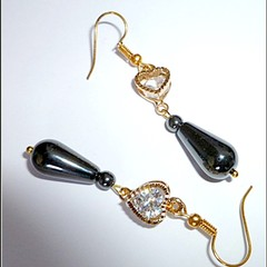 Hematite, Cubic zirconia and gold earrings. FREE SHIPPING