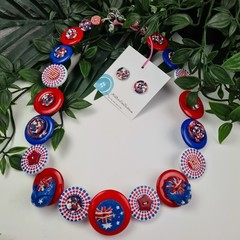 Australian Flag  - Red White and Blue - Button Necklace - Button Earrings