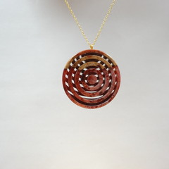 Mallee Burl and Wine Red/White mix Resin Double Sided Lattice Style Pendant