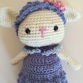 Lamb in dress - crocheted softie toy