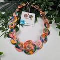 Sunset Boulevard Sparkle Glitter  - Resin Button Necklace and Earrings