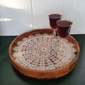 Resin Serving Tray with Crochet Lace Design