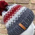 Knitted beanie alpaca wool grey red PomPom fair isle men's or ladies