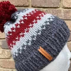 Knitted beanie alpaca wool grey red PomPom fair isle men's or ladies