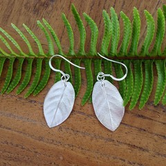 Recycled Silver Gum Leaf Earrings
