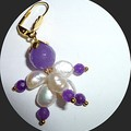 Amethyst, Jade and fresh water pearls earrings. FREE SHIPPING