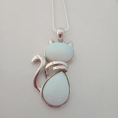Silver cat natural stone sea opal necklace