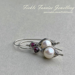 Silver Herringbone Pearl and Garnet Earrings