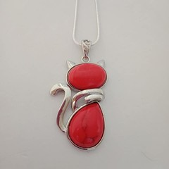 Silver cat natural stone red agate pendant necklace