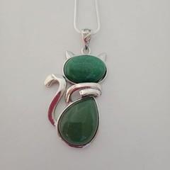 Silver cat natural stone green adventurine pendant necklace