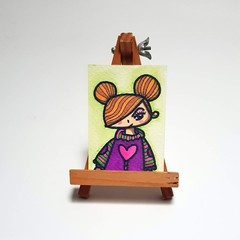 Greta with a big heart - ACEO Original Ink and watercolor on Watercolor Paper