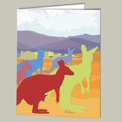 Three Kangaroo Party Blank Greeting Cards  FREE Postage Australia Wide
