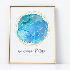 Personalised Watercolour Star Map - unique newborn baby gift, digital art