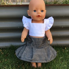 Dolls Skirt and Top to fit Cabbage Patch and Baby Born Dolls