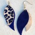 """""""Swoop"""" Indigo Blue/Leopard PrintedGenuine Leather Earrings"""