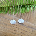 Recycled Silver leaf-vein textured double disc & chain Earrings