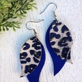 """Swoop"" Indigo Blue/Leopard PrintedGenuine Leather Earrings"