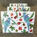 Blue Ring Neck Parrot Three Blank Cards FREE Shipping Aust