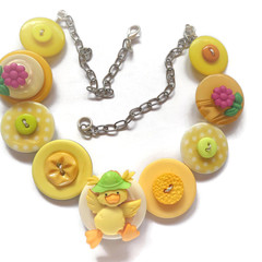 Girls button necklace - Lucky Ducky  (Yellow)
