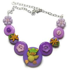 Girls button necklace - Lucky Ducky (Purple)