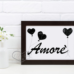 A4 and A3 Amore Love Printable Art Black or Grey and White