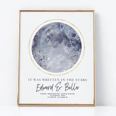 Personalised Watercolour Star Map - unique anniversary/wedding gift, digital art